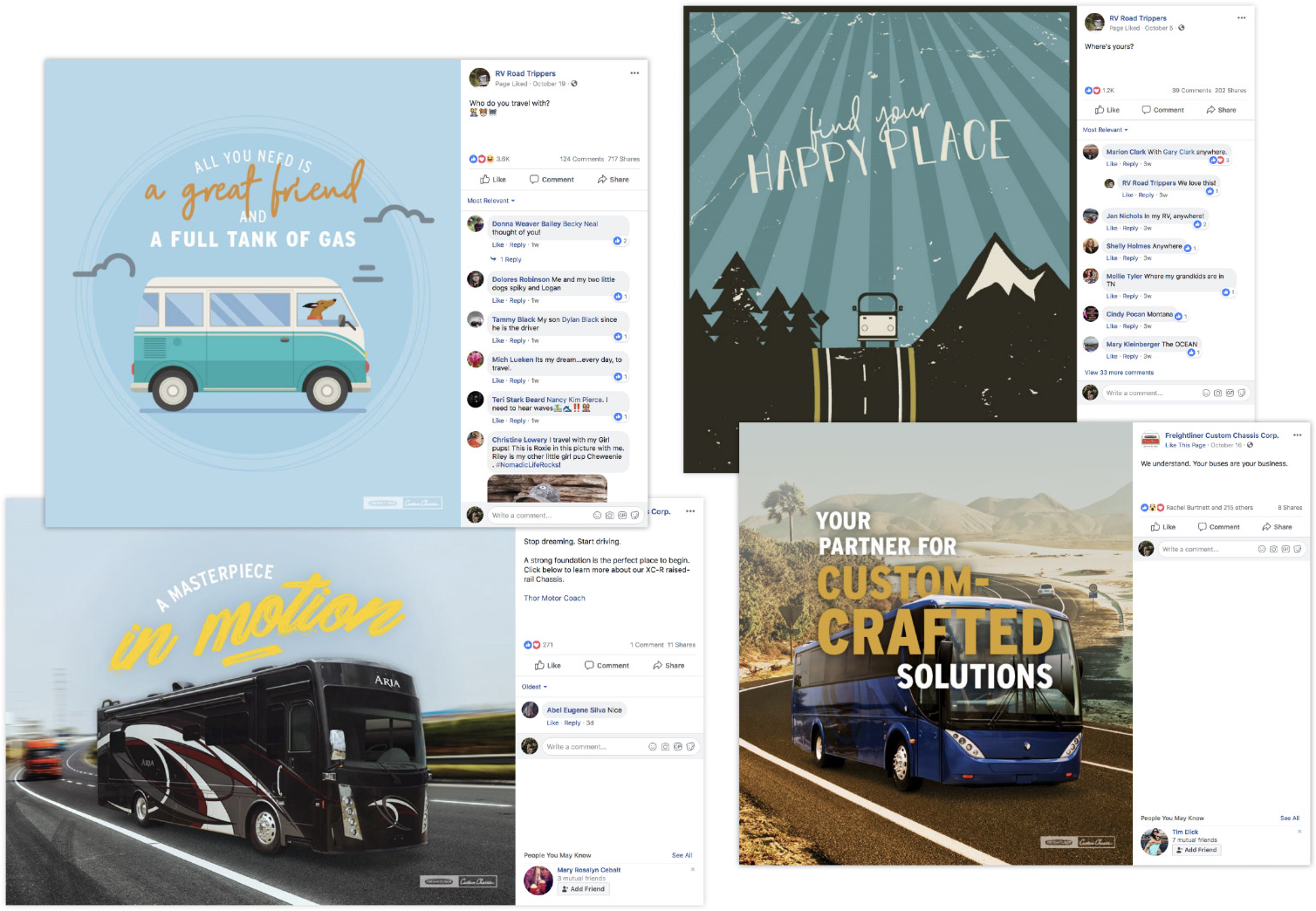 Freightliner Custom Chassis Social media campaign example collage